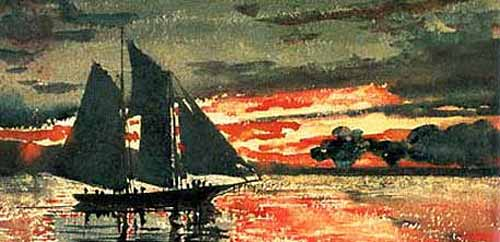 """Sunset Fire"" Painting by Winslow Homer"